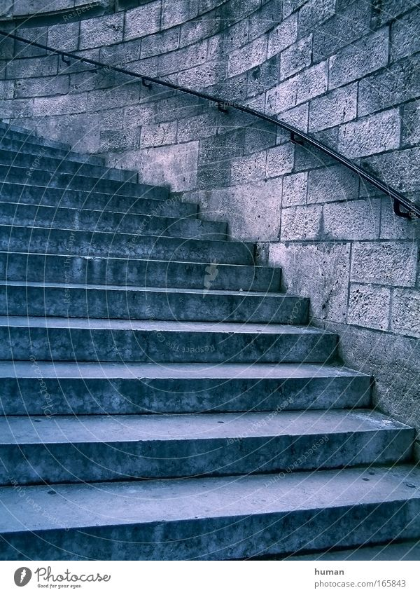 stairs Old Blue Gray Stone Moody Dirty Architecture