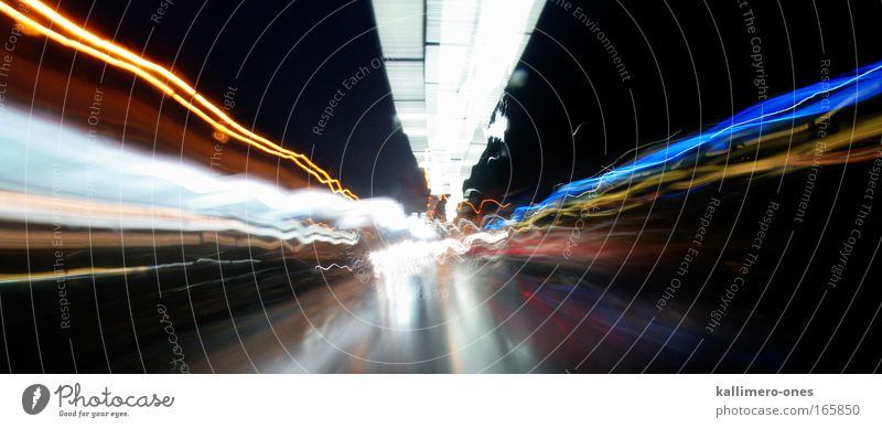 Go Fast Multicoloured Exterior shot Abstract Night Light Long exposure Transport Means of transport Traffic infrastructure Road traffic Motoring Street Highway