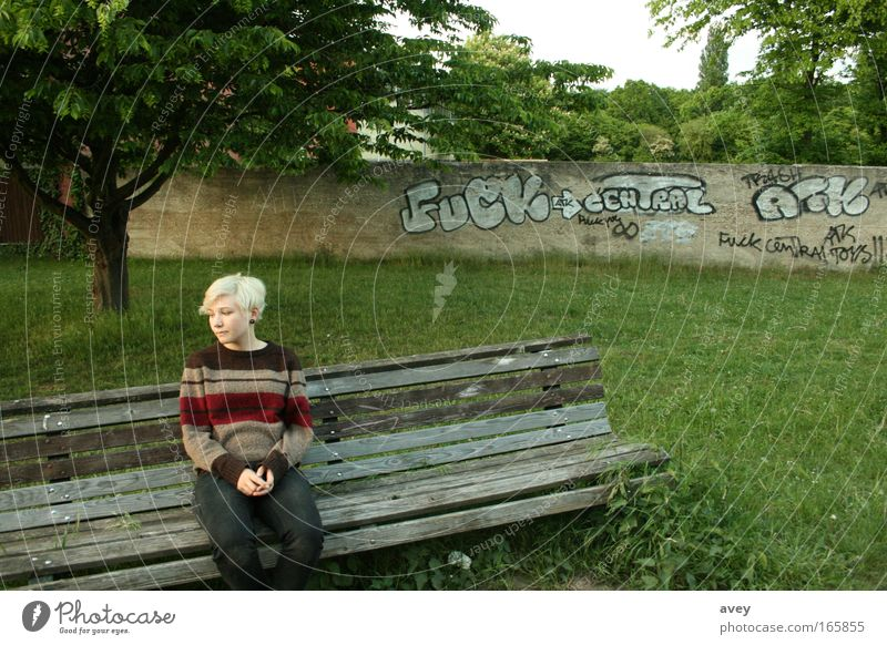good prospects for the future Bench Nature Tree Human being alone Graffiti Gray White Stripe Asymmetry Ambiguous Wait fuck Time Loneliness Blonde Fear Bland