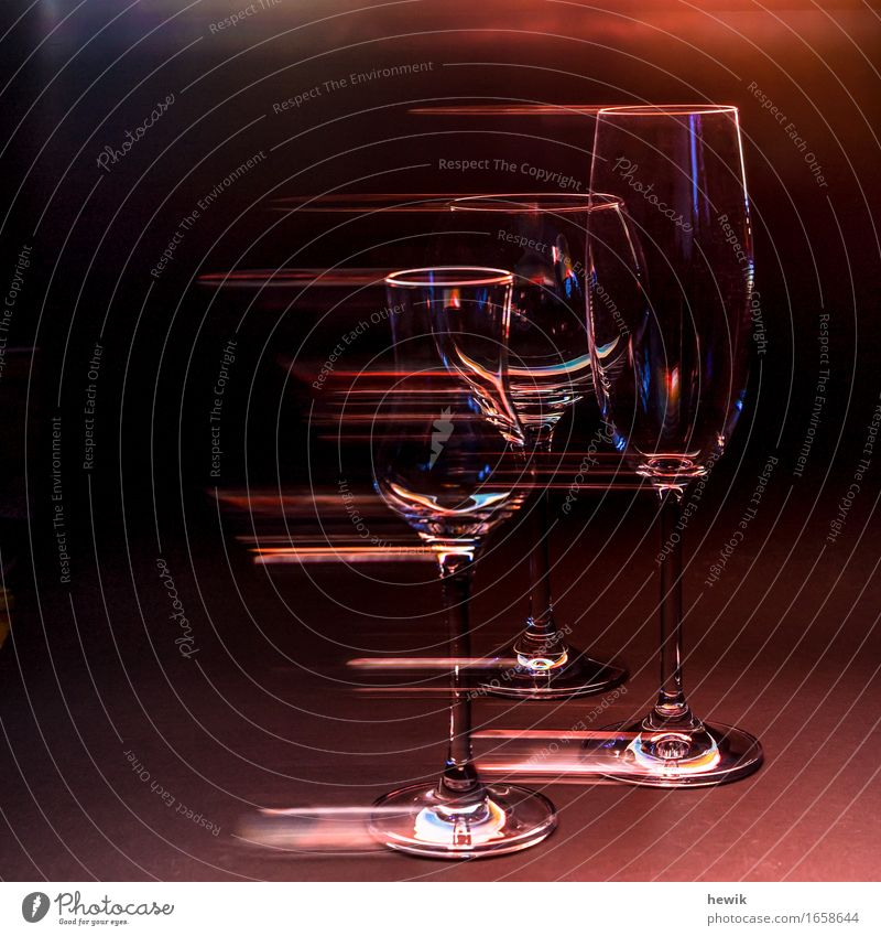 glassware Glass Champagne glass Wine glass Grappa glass Esthetic Exceptional Colour photo Interior shot Experimental Copy Space left Artificial light Contrast