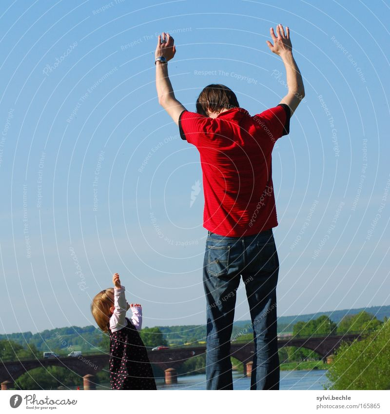 hands in the air Trip Adventure Freedom Success Toddler Girl Man Adults Father Family & Relations Infancy Arm Hand Cloudless sky River bank Bridge Infinity Tall