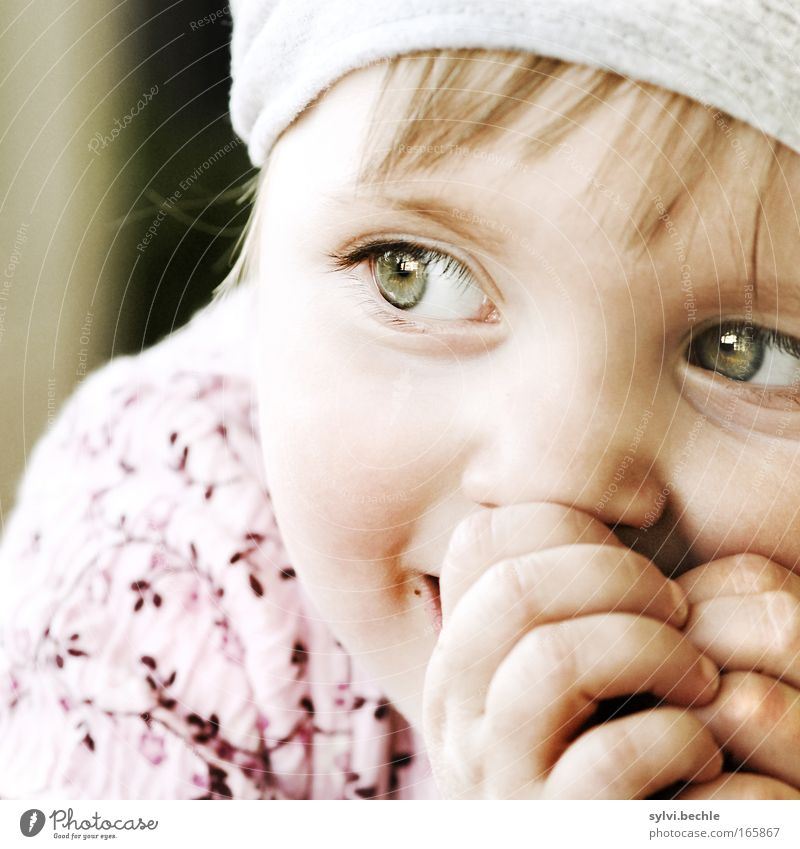Child Hand Girl Face Calm Eyes Happy Contentment Wait Glittering Fingers Joy Sit Happiness Portrait photograph Observe