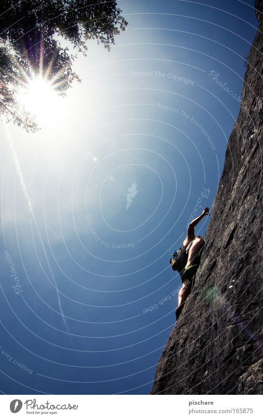 Genius, 6b/Croatia Leisure and hobbies Sports Climbing Mountaineering Man Adults 1 Human being Cloudless sky Sun Sunlight Summer Beautiful weather Rock Old