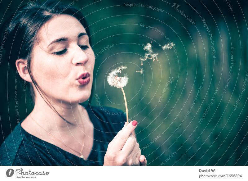 dandelion Lifestyle Human being Feminine Young woman Youth (Young adults) Woman Adults Head Hair and hairstyles Face Mouth Lips Hand 1 Art Environment Nature
