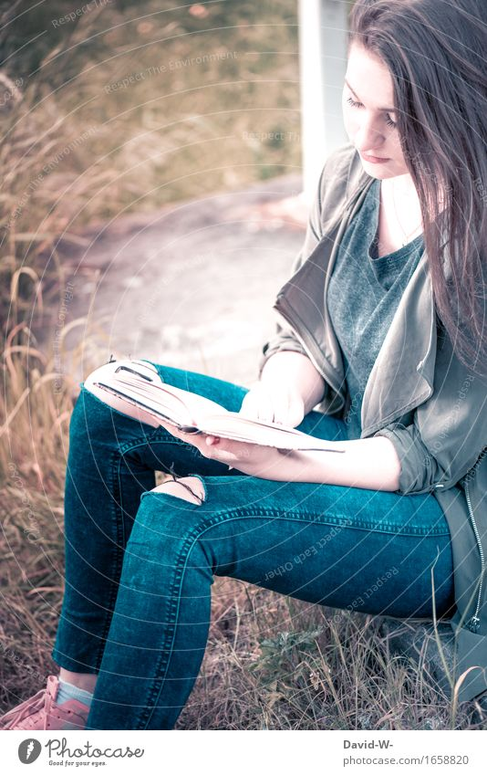 young woman reading a book out in nature Nature Reading Book books Reading matter Reader Bookworm Stories Study tranquillity relaxation Education Literature