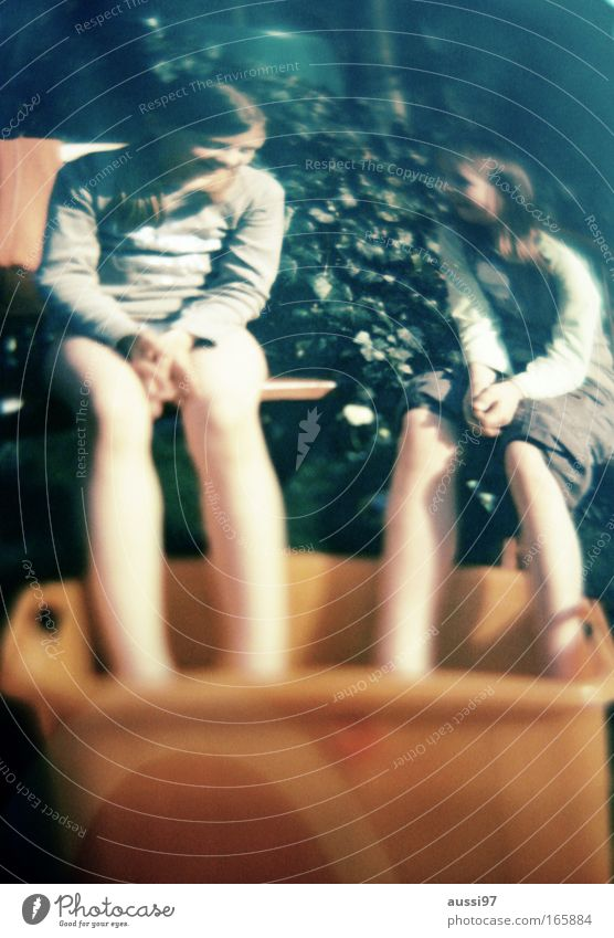 Surrealism Day Colour photo Exterior shot Experimental Copy Space bottom Blur Full-length Front view Looking away Human being Child Girl Friendship Infancy 2