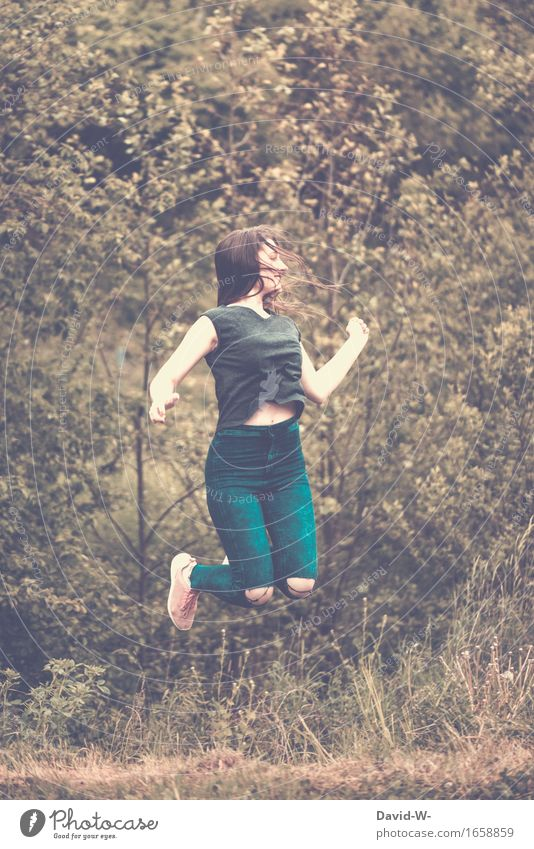 leap into the air Woman jumps Air Jump Joy happy joyfully Hop smile Young woman Happiness joyful leap