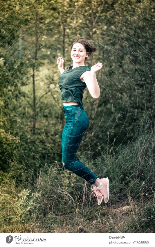 joy Elegant Healthy Life Well-being Contentment Human being Feminine Woman Adults Youth (Young adults) 1 Nature Summer Forest Jump Beautiful Athletic Attractive