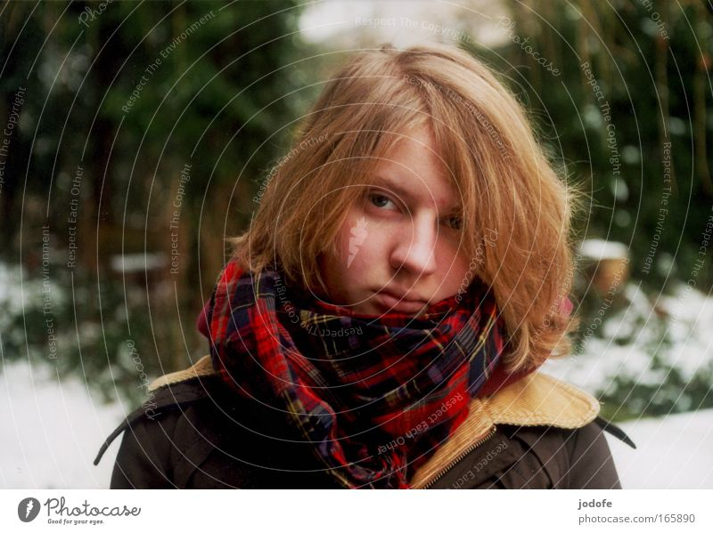 Woman Human being Nature Youth (Young adults) Beautiful Winter Face Cold Snow Feminine Head Ice Wait Blonde Adults