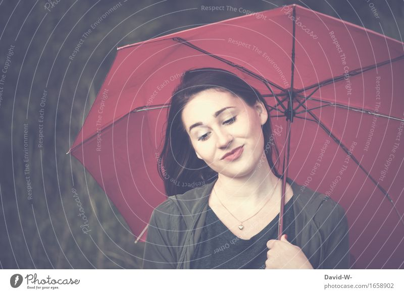 with umbrella Lifestyle Healthy Harmonious Well-being Contentment Senses Relaxation Calm Leisure and hobbies Human being Feminine Girl Young woman