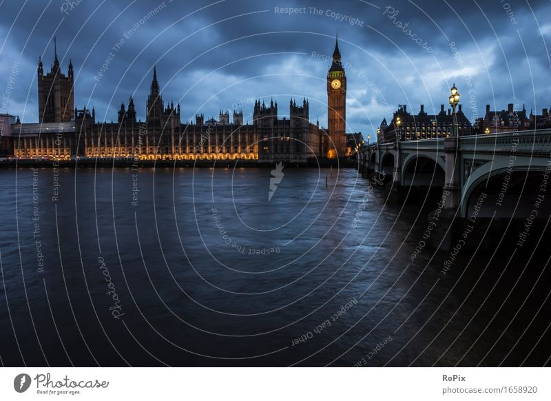 house of parliament Environment Landscape Elements Water Sky Clouds Night sky River bank London Big Ben England Town Capital city Downtown Skyline Church Palace
