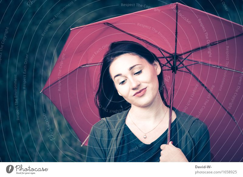 beauty Lifestyle Beautiful Human being Feminine Young woman Youth (Young adults) Woman Adults Nature Emotions Moody Umbrella Brunette Enchanting Attractive Rain