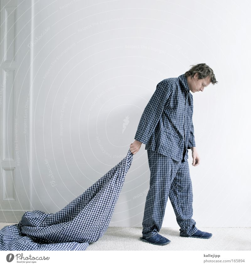 Human being Man Blue White Adults Wall (building) Dream Going Sleep Shirt Fatigue Hang Checkered Bedroom Exhaustion Duvet