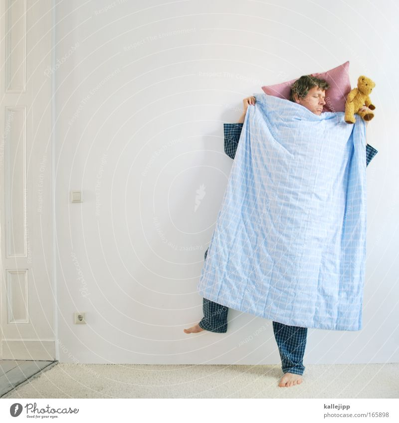 bed-stand Closed eyes Well-being Contentment Relaxation Calm Meditation Bedroom Human being Man Adults 1 30 - 45 years Sleep Dream Crazy Teddy bear Duvet Pillow