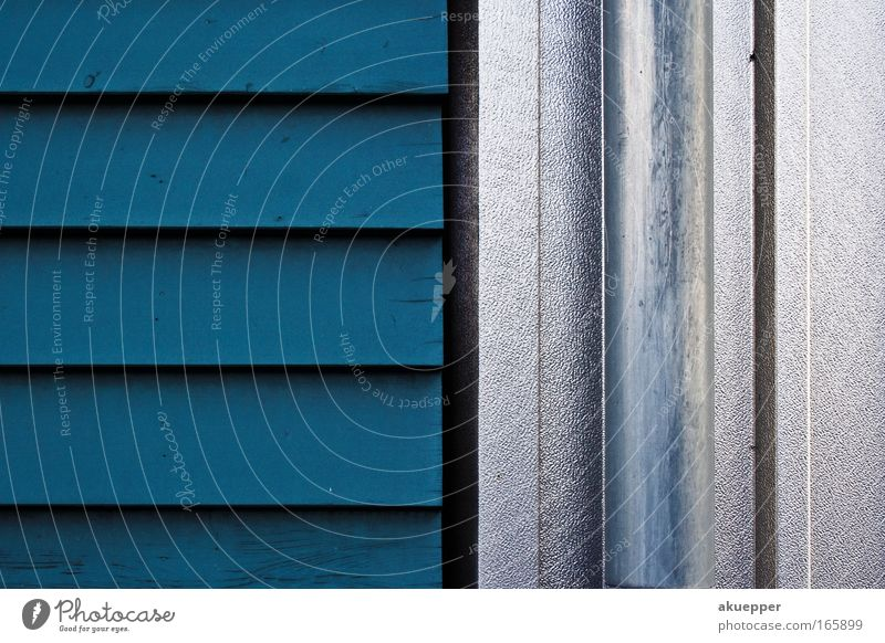 wood vs. metal Detail Abstract Structures and shapes Neutral Background House (Residential Structure) Wall (barrier) Wall (building) Wood Metal Blue Silver