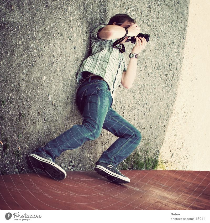 Man Joy Photography Adults Perspective Ground Lie Leisure and hobbies Camera Passion Photographer Take a photo Objective Photo shoot Profession
