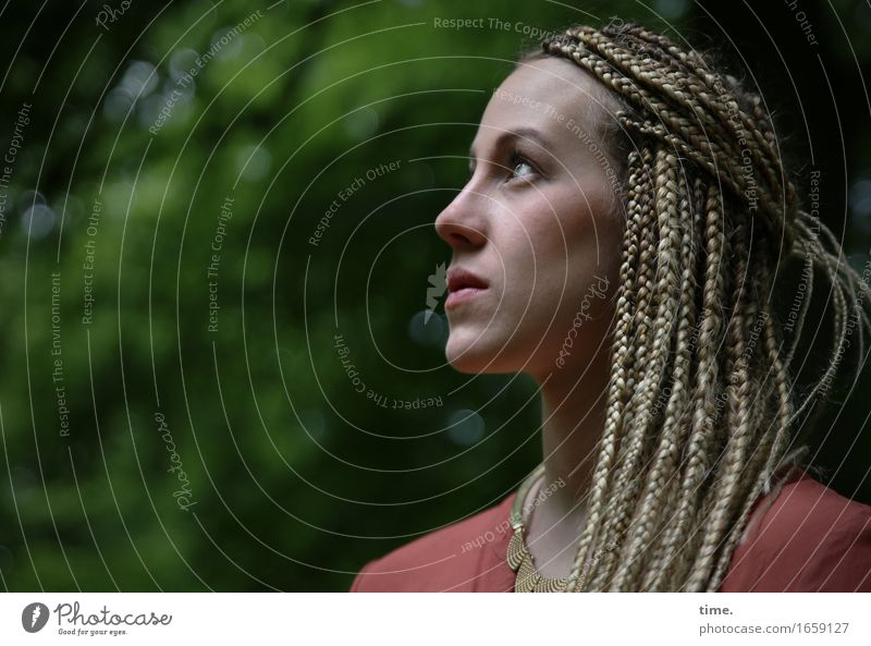 . Feminine 1 Human being Park Shirt Jewellery Necklace Blonde Long-haired Braids Dreadlocks Observe Discover Looking Wait Elegant Curiosity Beautiful