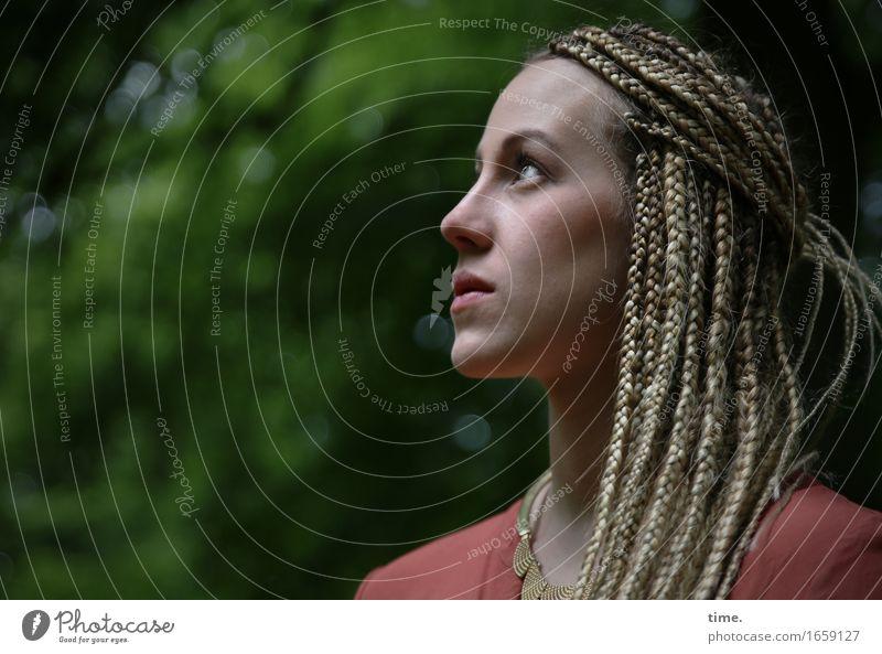 Human being Beautiful Life Feminine Park Elegant Blonde Wait Observe Curiosity Discover Serene Brave Concentrate Watchfulness Shirt