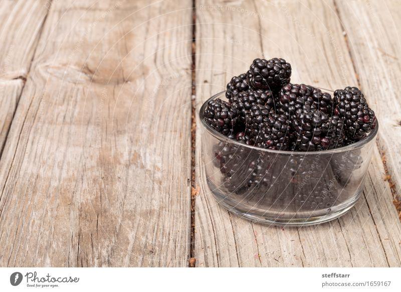 Clear glass bowl of ripe blackberries Food Fruit Nutrition Eating Breakfast Picnic Organic produce Vegetarian diet Diet Bowl Lifestyle Beautiful Healthy