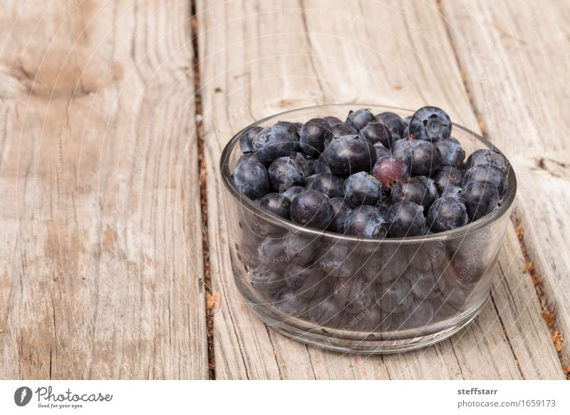 Clear glass bowl of ripe blueberries Blue Plant Beautiful Red Life Eating Healthy Food Health care Fruit Nutrition Wellness Organic produce Breakfast
