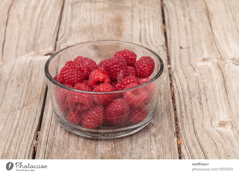 Clear glass bowl of ripe raspberries Plant Beautiful Red Eating Healthy Food Pink Fruit Body Nutrition Breakfast Diet