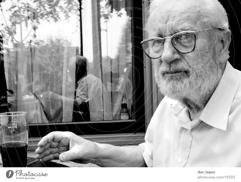 my_granddad Grandfather Man Beer Portrait photograph Reflection Summer Eyeglasses Facial hair Shirt Human being Black & white photo Glass older semester