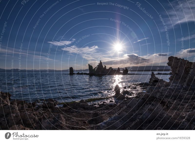 morning star Vacation & Travel Environment Nature Landscape Water Sky Horizon Sunrise Sunset Beautiful weather Rock Lakeside Mono Lake Illuminate Exceptional