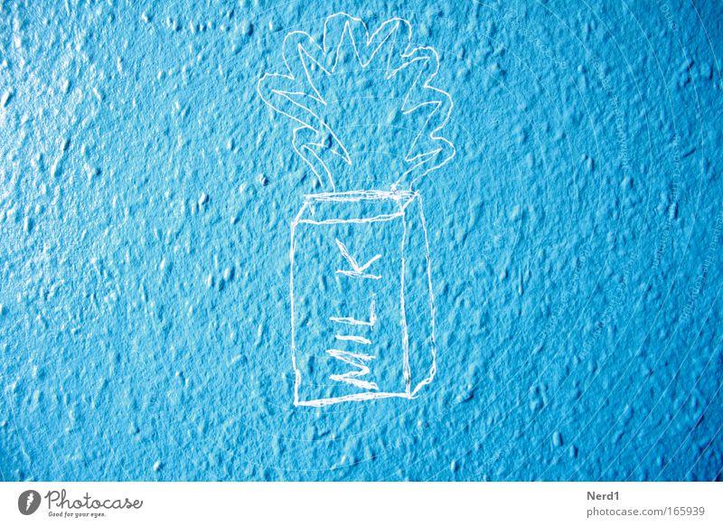 Blue Wall (building) Graffiti Word Milk Drawing English Light blue Bright background Latin script
