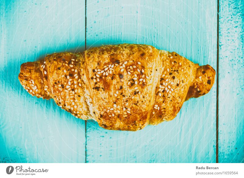 Croissant On Blue Table Blue Forest Yellow Eating Food Gold Nutrition Table Simple Sweet Near Breakfast Turquoise Baked goods Wooden table Feeding