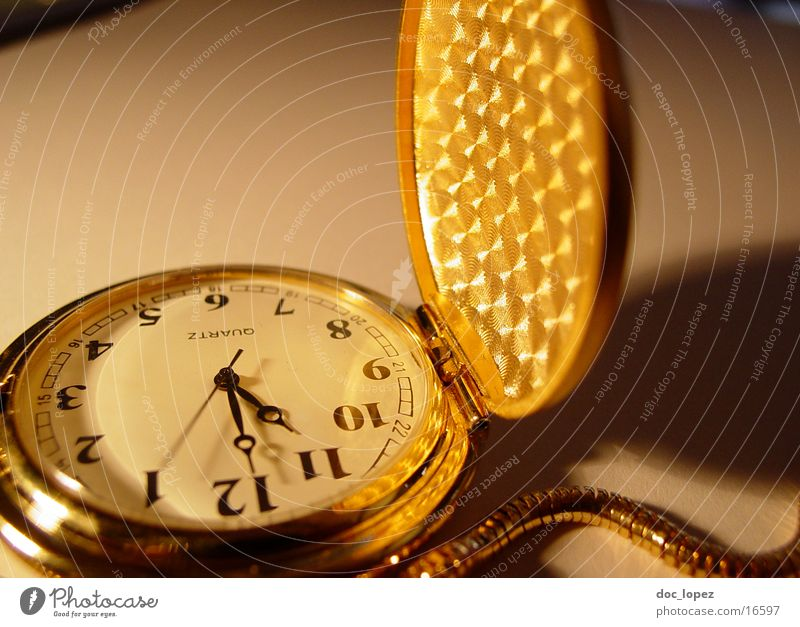 Moody Gold Time Clock Digits and numbers Transience Things Chain Nostalgia Partially visible Flap Second hand Fob watch