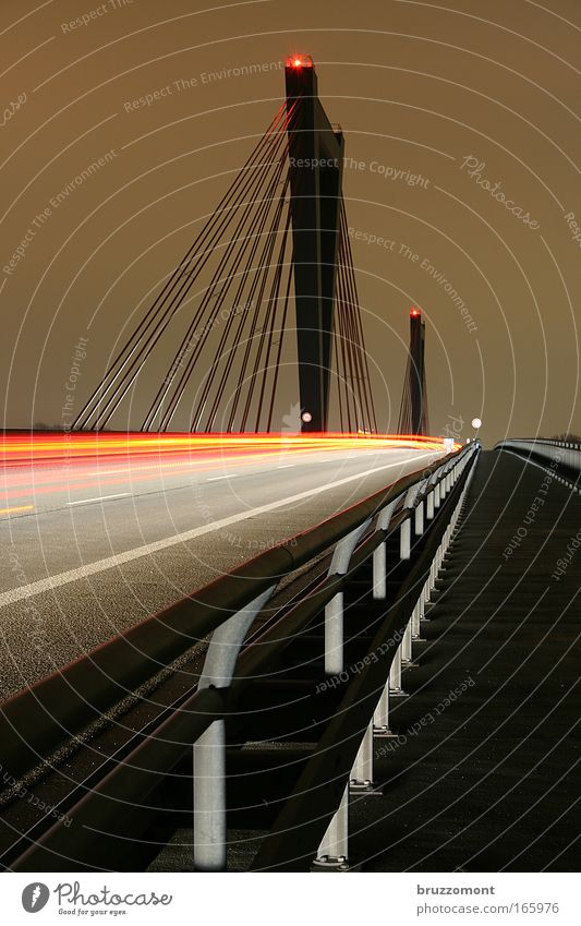 red-light sinner Colour photo Exterior shot Copy Space left Copy Space right Night Long exposure Motion blur Duesseldorf Bridge Transport Means of transport