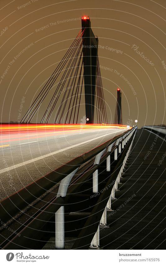 Red Street Freedom Gray Night Transport Speed Bridge Driving Target Asphalt Long exposure Highway Traffic infrastructure Vehicle Motoring
