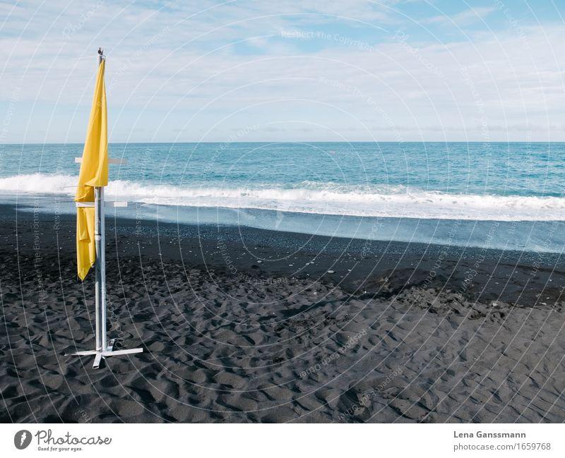 Yellow flag on a windless beach Environment Nature Landscape Sand Water Sun Summer Beautiful weather Volcano Waves Coast Beach Ocean Island La Palma Puerto Naos