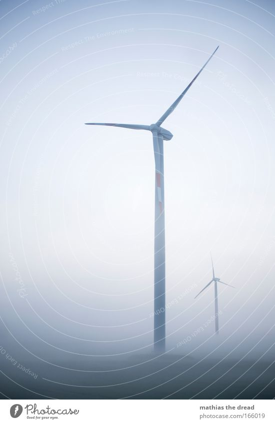 wind power Colour photo Subdued colour Exterior shot Neutral Background Dawn Day Shadow Contrast Silhouette Sunlight Deep depth of field Worm's-eye view