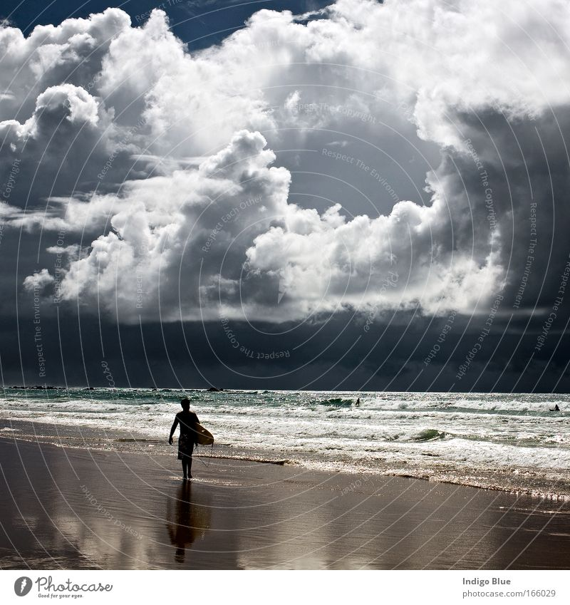 Perfect Storm Human being Nature Water Beautiful Sky Ocean Beach Clouds Sand Landscape Moody Coast Wind Weather Environment Horizon