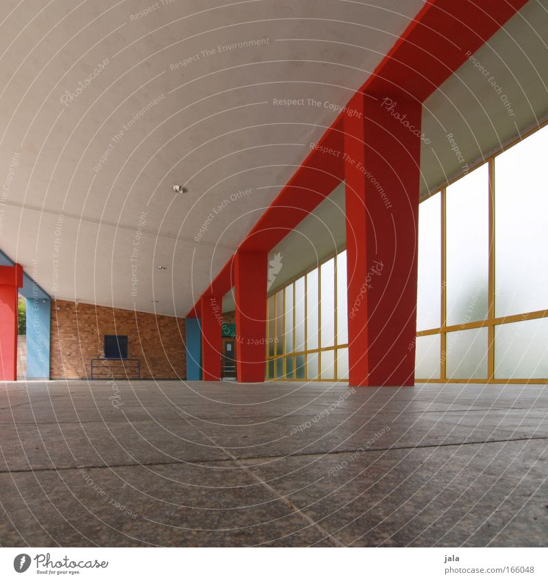 pillared hall Colour photo Exterior shot Interior shot Deserted Day Worm's-eye view House (Residential Structure) Building Architecture Blue Multicoloured