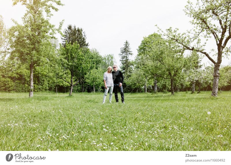 Pensioner couple in the park Lifestyle Elegant Style Female senior Woman Male senior Man Couple Partner 60 years and older Senior citizen Nature Landscape