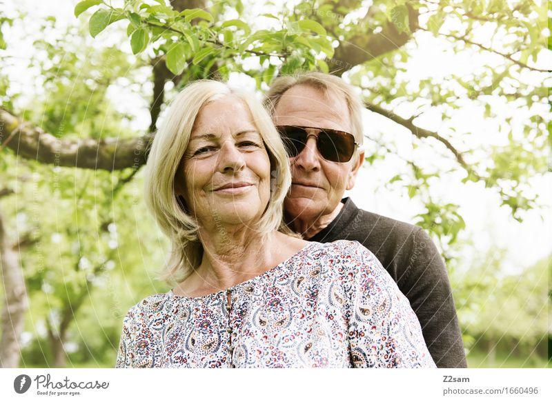 Love is in the air Lifestyle Elegant Style Female senior Woman Male senior Man Couple Partner 60 years and older Senior citizen Nature Landscape Sun Sunlight