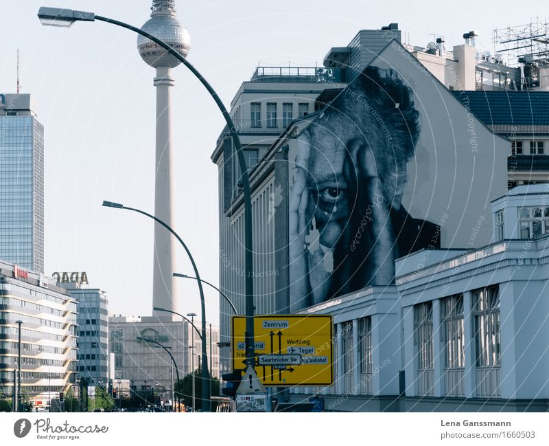 Berlin is watching you Closing time Art Painter Street art Downtown Berlin Capital city Skyline House (Residential Structure) High-rise Architecture