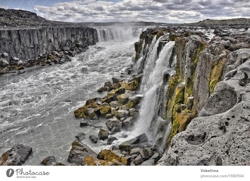 Selfoss, Iceland Tourism Adventure Far-off places Sightseeing Nature Landscape Elements Water Waterfall Brown Gray Green White Exterior shot Deserted Long shot
