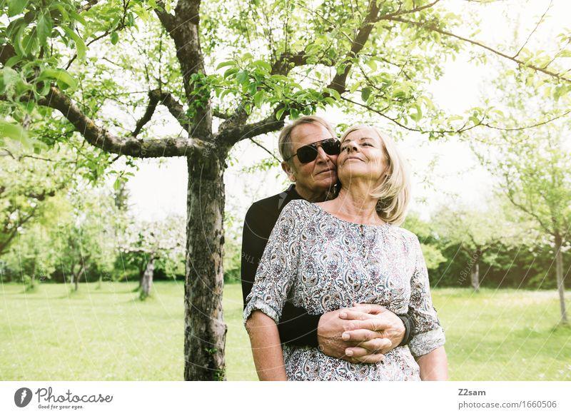 Woman Nature Man Summer Sun Tree Landscape Emotions Senior citizen Natural Healthy Happy Garden Park Contentment Idyll