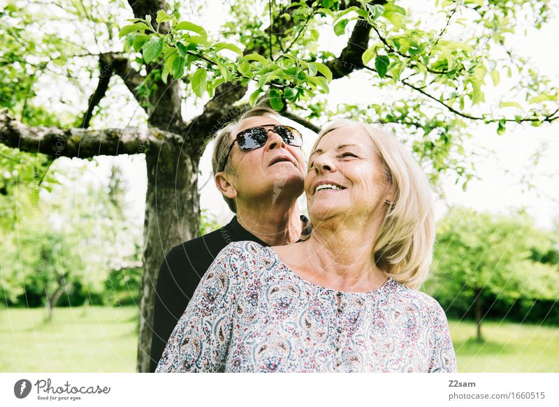what a life Female senior Woman Male senior Man 60 years and older Senior citizen Nature Landscape Summer Beautiful weather Tree Garden Blonde To enjoy Smiling