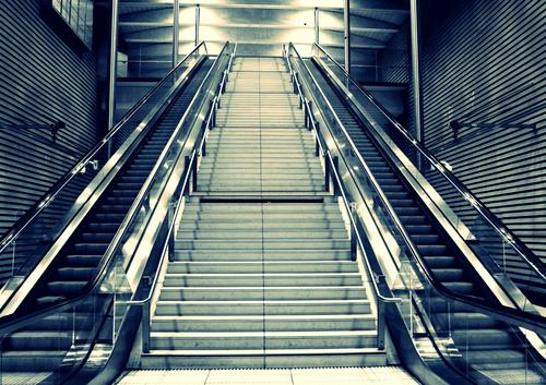 City Stairs Europe Logistics Town Saxony Train station Symmetry Escalator Station hall