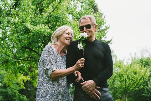 Only for you Nature Landscape Summer Beautiful weather Tree Bushes Garden Park Sunglasses Blonde To enjoy Communicate Smiling Laughter Old Healthy Together