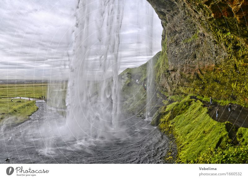 Nature Green Water White Landscape Gray Brown Tourism Hiking Drops of water Adventure Elements Sightseeing Waterfall