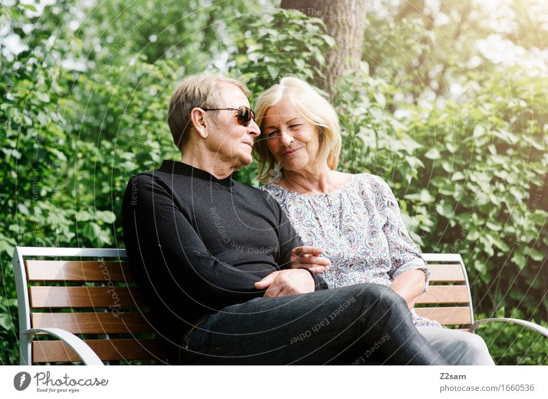 Pensioner couple sitting on a bench Lifestyle Female senior Woman Male senior Man 60 years and older Senior citizen Nature Landscape Summer Beautiful weather