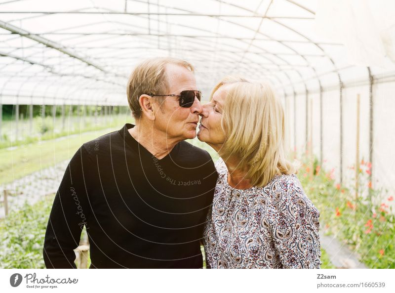 Woman Nature Man Summer Landscape Love Senior citizen Natural Lifestyle Happy Garden Couple Together Idyll 60 years and older To enjoy