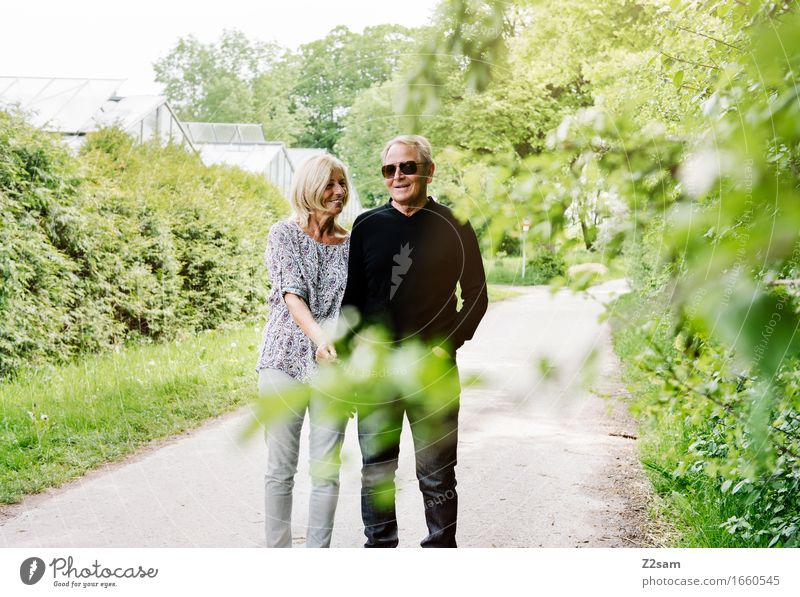 M loves D Lifestyle Elegant Style Female senior Woman Male senior Man Couple Partner 60 years and older Senior citizen Nature Landscape Summer Beautiful weather