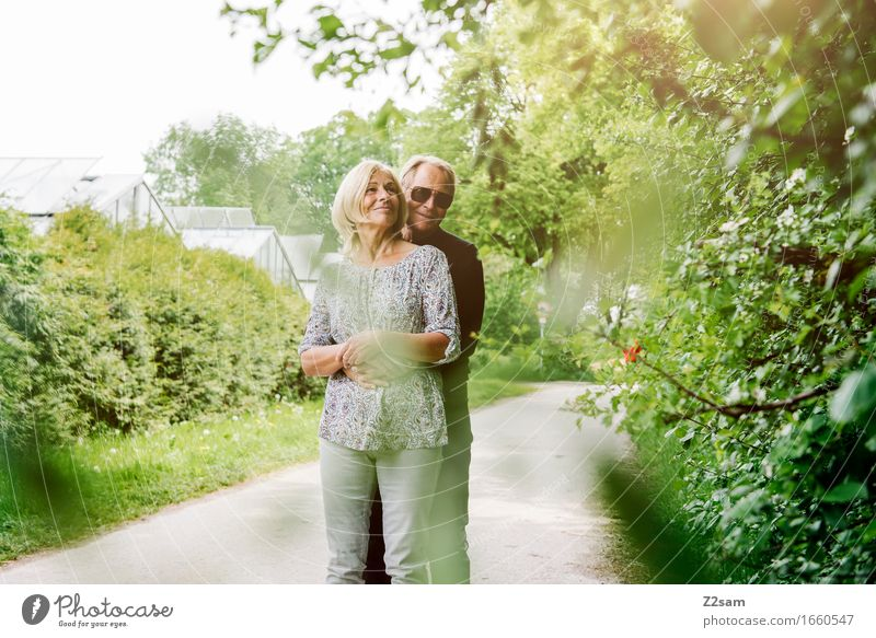 Life is beautiful Elegant Female senior Woman Male senior Man Couple Partner 60 years and older Senior citizen Nature Landscape Summer Beautiful weather Garden