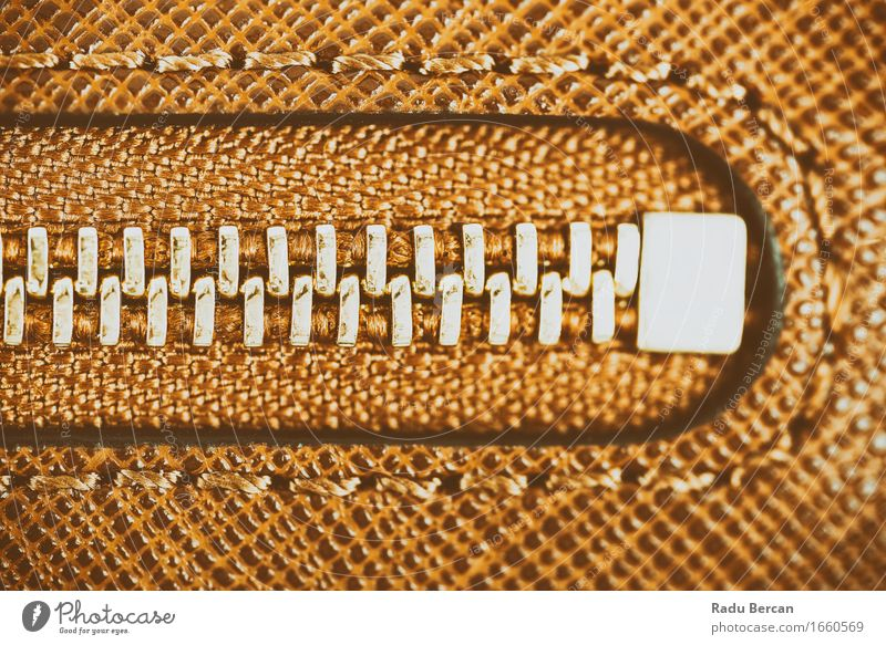Zipper Closeup On Brown Leather Wallet Shopping Elegant Style Design Fashion Clothing Bag Gold Colour Leather bag Close-up Macro (Extreme close-up) Material